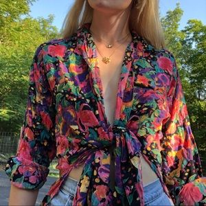 Vintage button down floral blouse